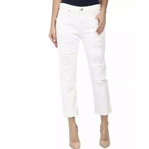 7 FOR ALL MANKIND WHITE PATCHES SKINNY JEANS